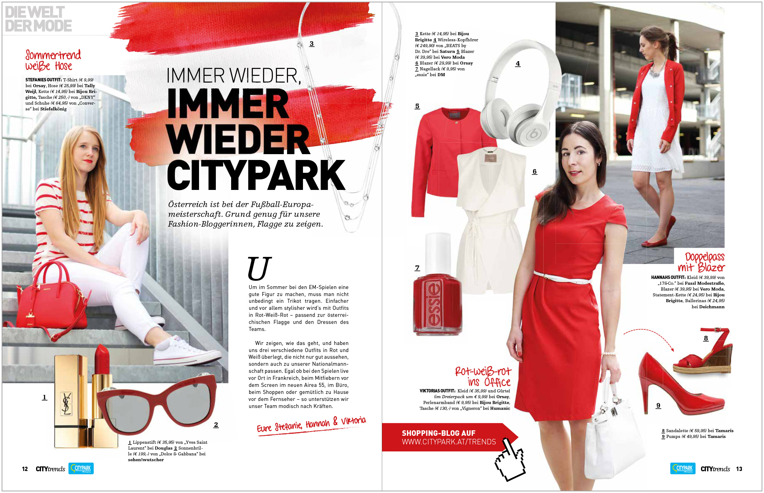 Content Zusammenarbeit Blogger Doppelseite Magazin Citytrends Citypark 2/2016